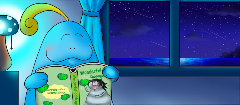 Doozy Moo is reading a children's bedtime story.