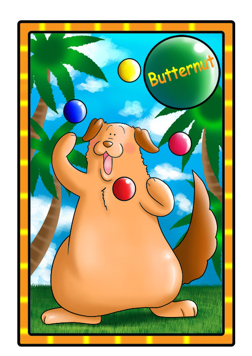 This character profile card shows Butternut, a dog, performing his secret skill: juggling.