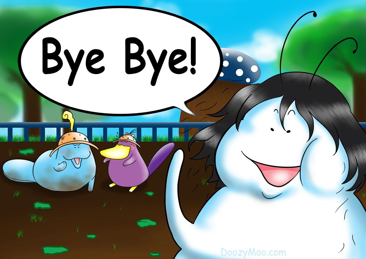 "A funny cartoon character is waving goodbye while saying ""Bye Bye!"""