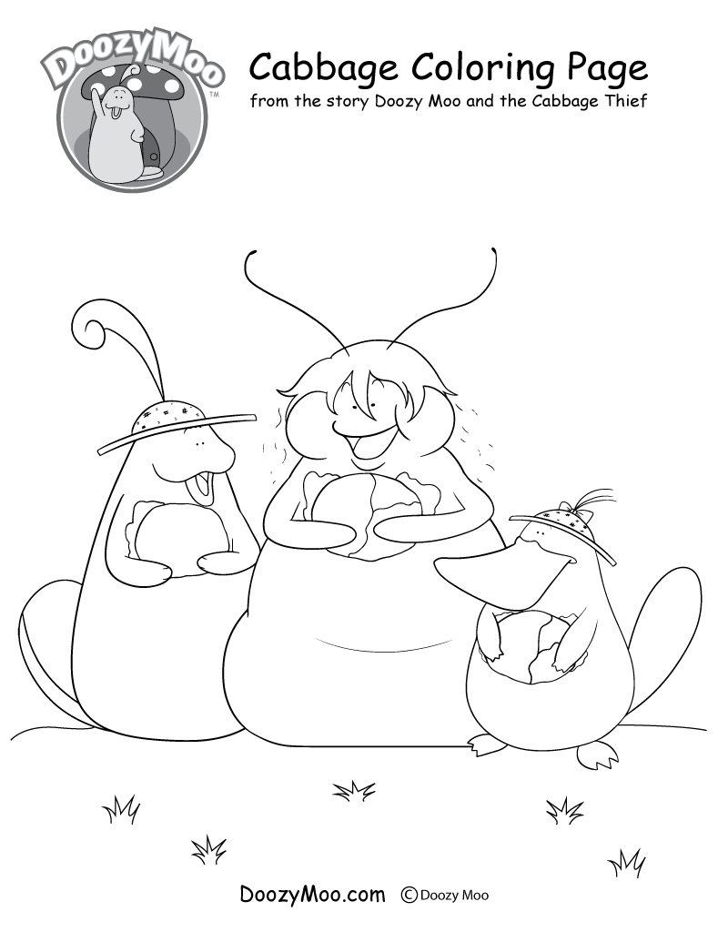 Doozy Moo, Silk, and Pop are all holding heads of cabbage in this coloring page.