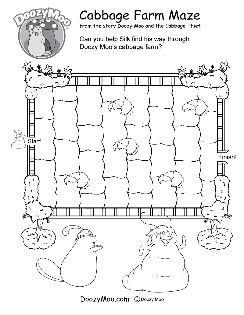 worksheet Maze Worksheet cabbage farm maze worksheet free printable doozy moos is a in this activity worksheet