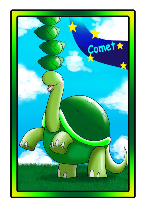 This character profile card shows Comet, a turtle, performing his secret skill: balancing cabbage on his head.