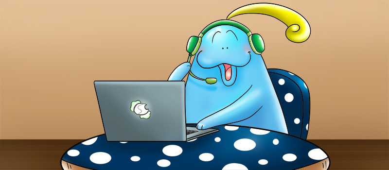 Doozy Moo is a customer service representative, talking to people using a computer and a headset in this cute picture.