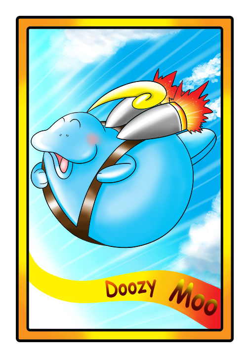 This character profile card shows Doozy Moo, a manatee, performing his secret skill: flying with a jetpack.