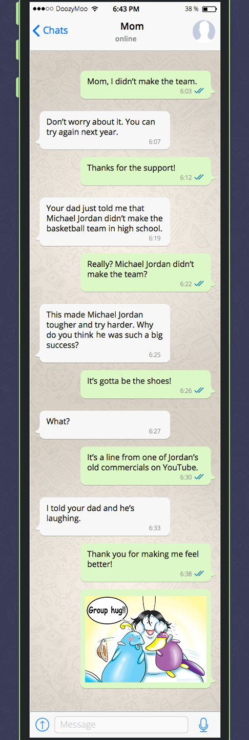 """This is a screenshot of a funny family text message where a mom and dad are encouraging their son after he didn't make the team. The son sends the """"Group Hug!"""" messaging sticker to thank his parents for their support."""
