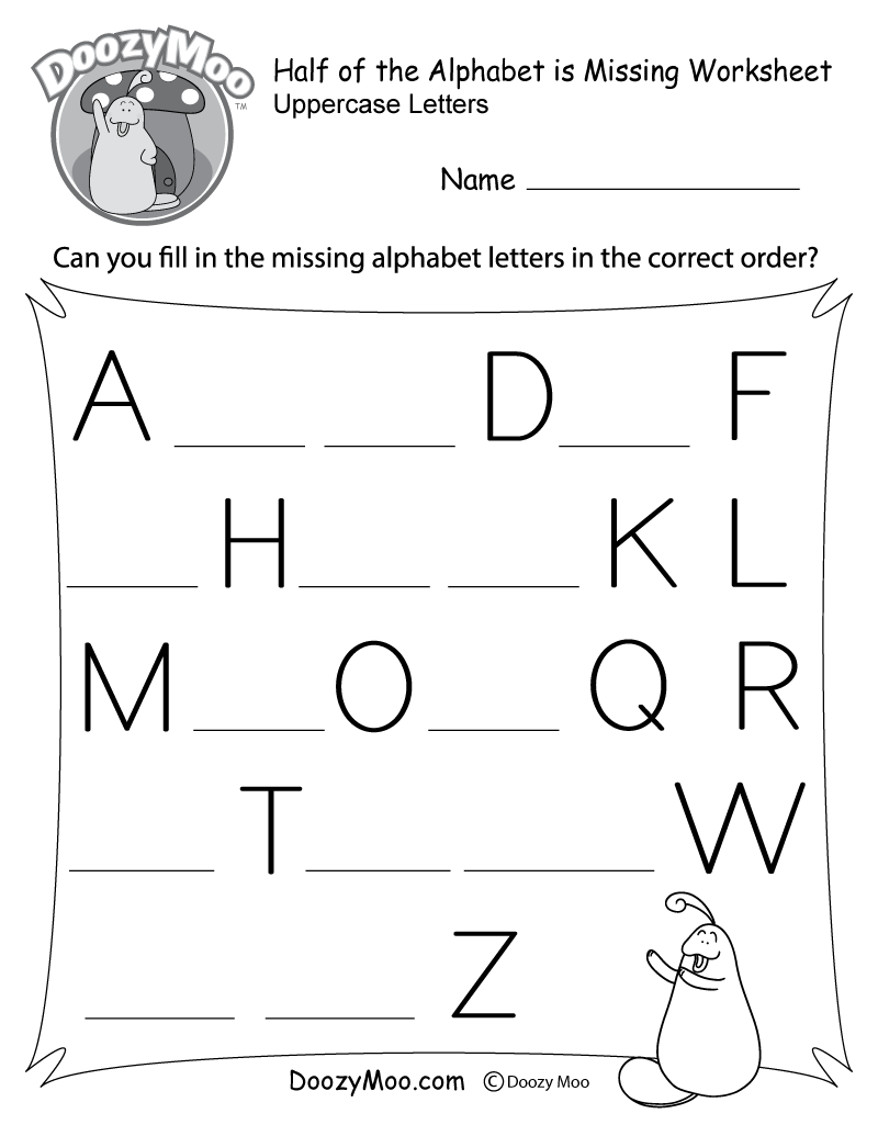 Half of the Alphabet is Missing Worksheet