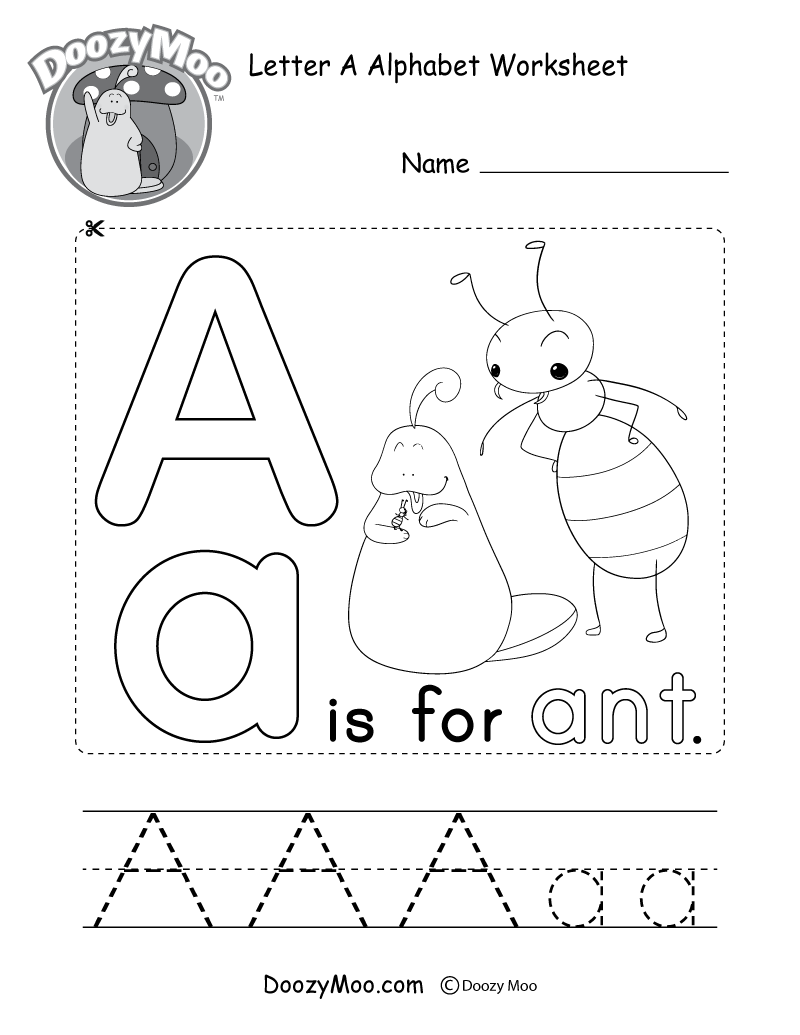Letter A Alphabet Worksheet. The letter A is for ant.