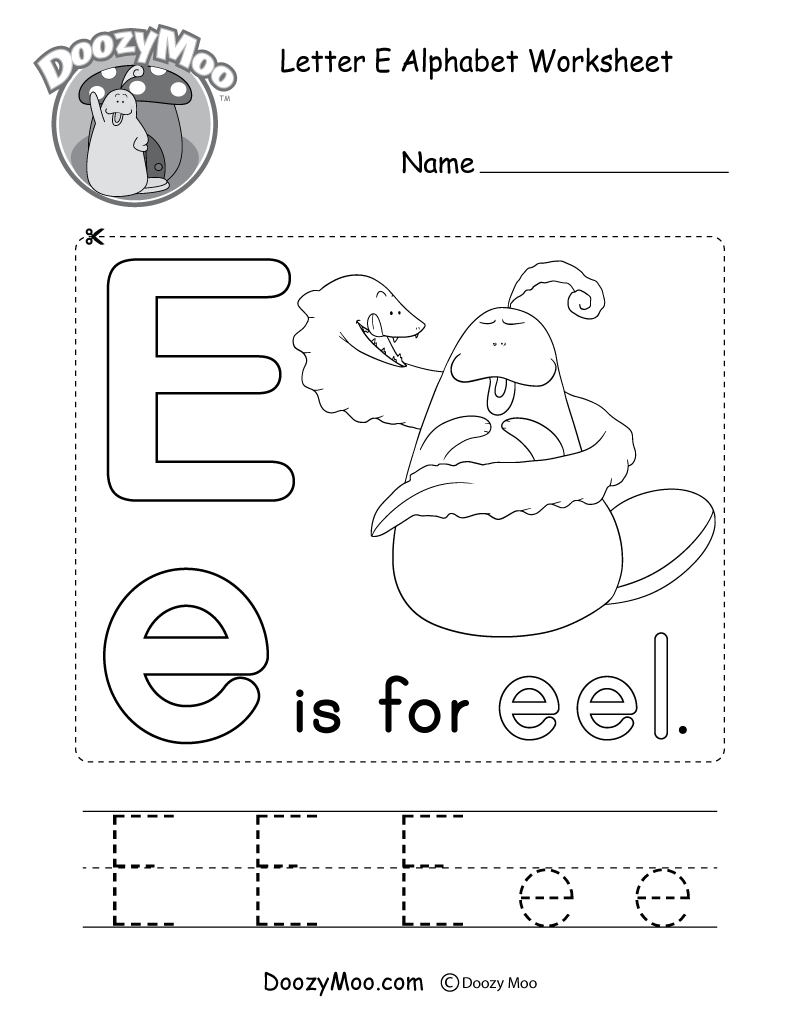 letter e alphabet activity worksheet doozy moo. Black Bedroom Furniture Sets. Home Design Ideas