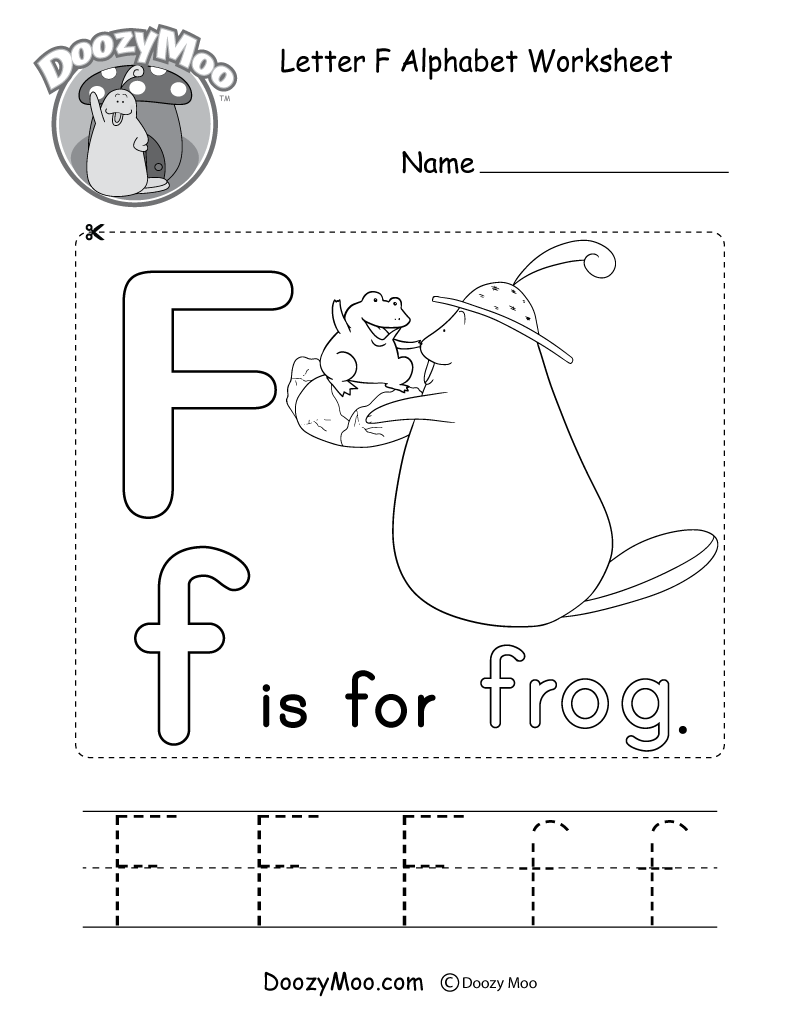 Letter F Alphabet Worksheet. The letter F is for frog.