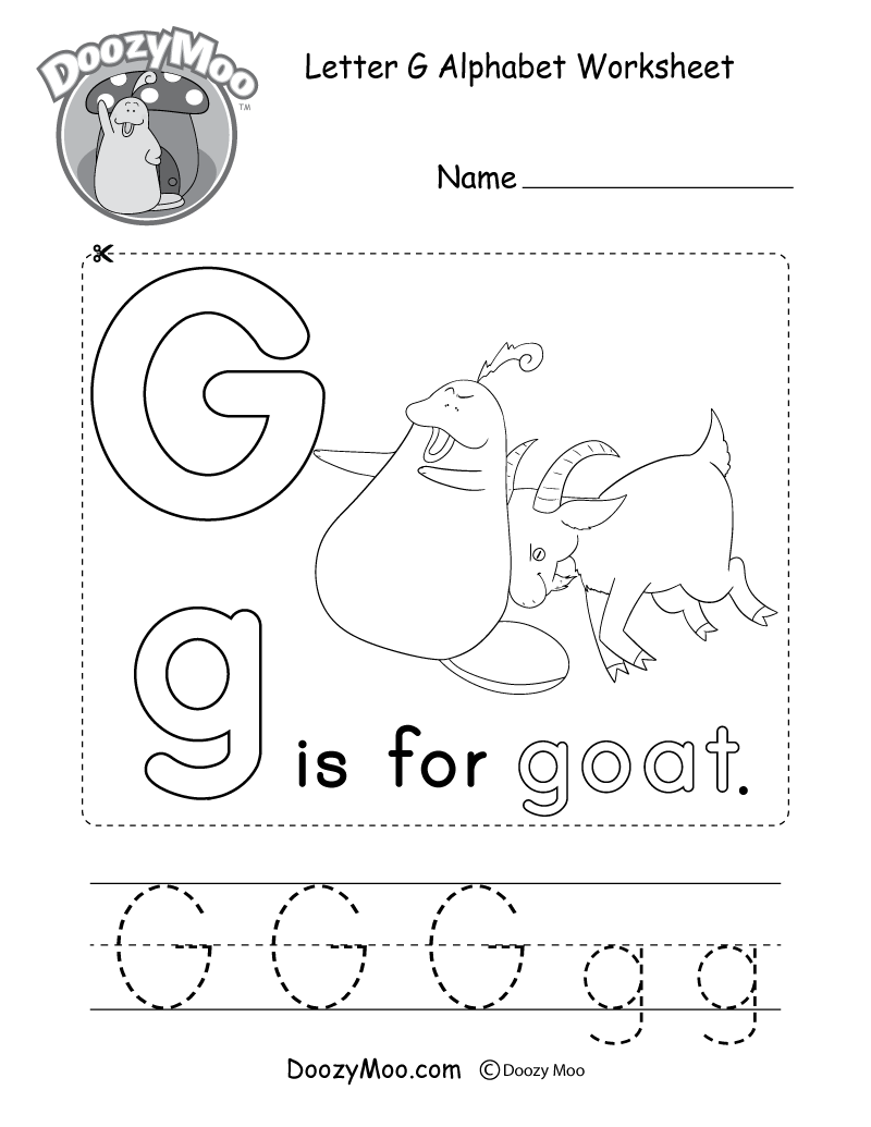 Letter G Alphabet Worksheet. The letter G is for goat.
