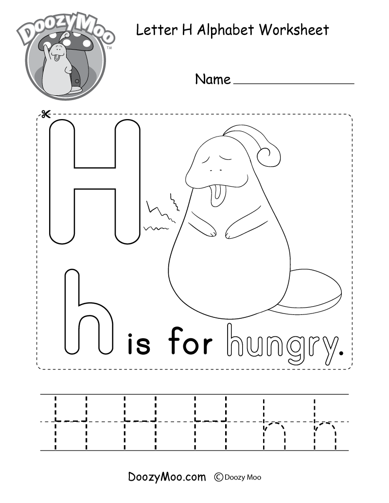 Letter H Alphabet Worksheet. The letter H is for hungry.