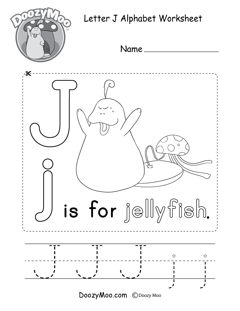 Letter J Alphabet Worksheet. The letter J is for jellyfish.