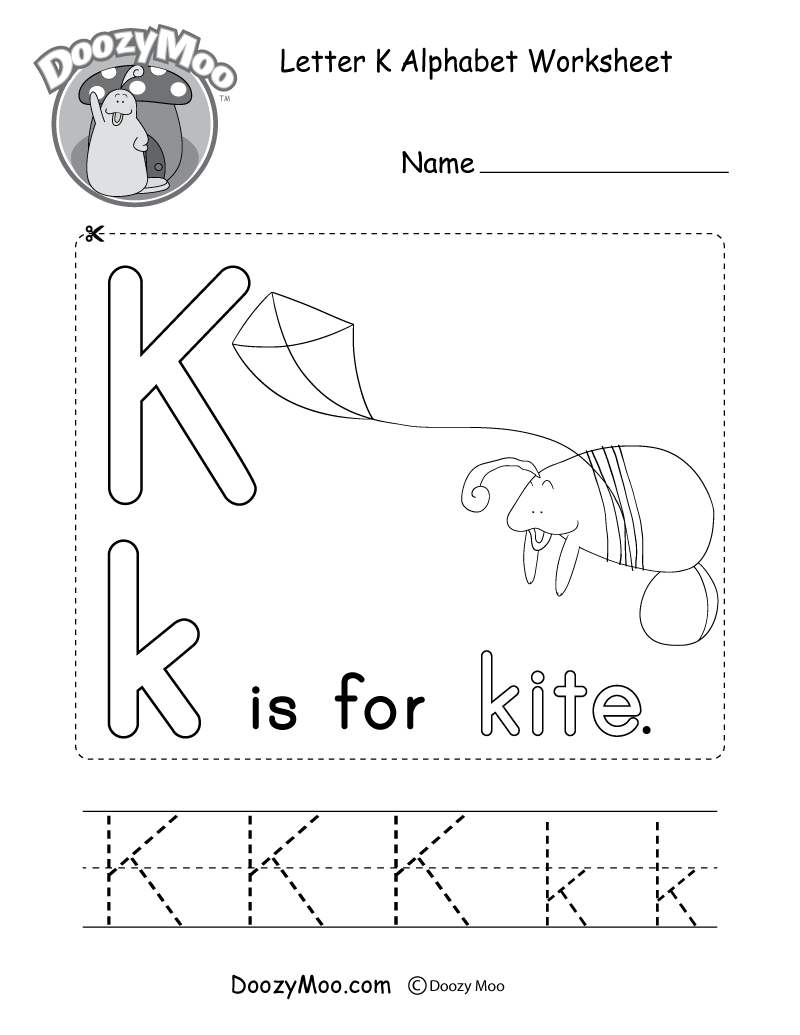 Letter K Alphabet Worksheet. The letter K is for kite.