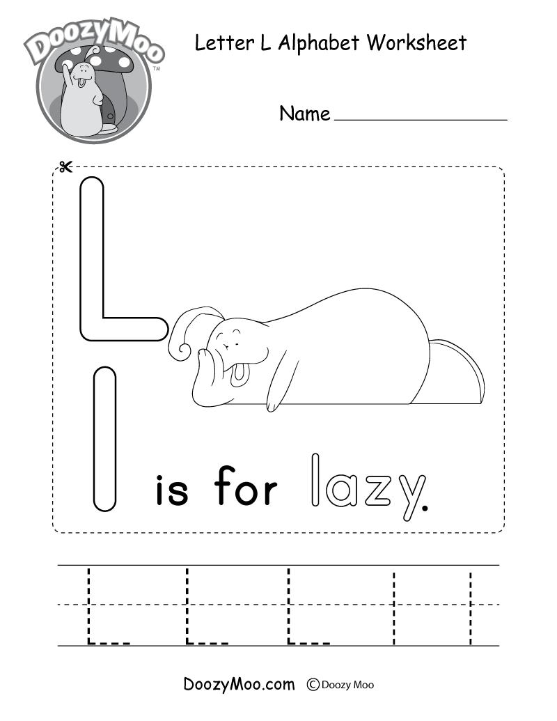 Letter L Alphabet Worksheet. The letter L is for lazy.