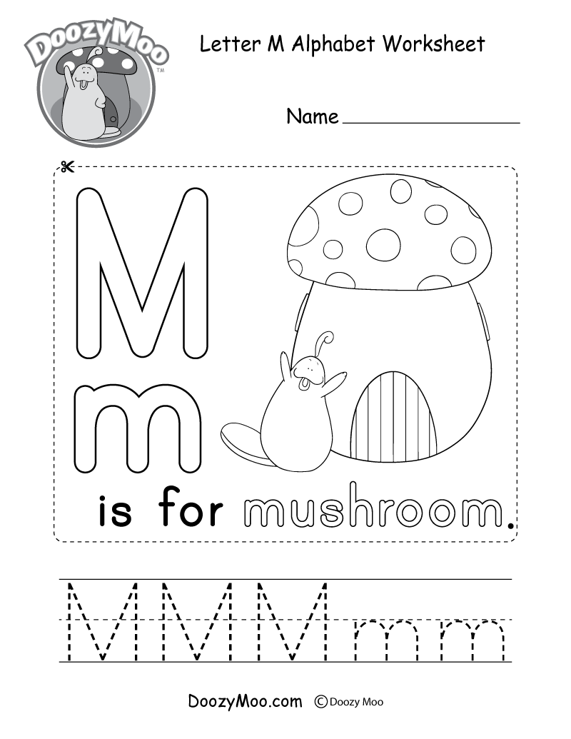 Letter M Alphabet Worksheet. The letter M is for mushroom.