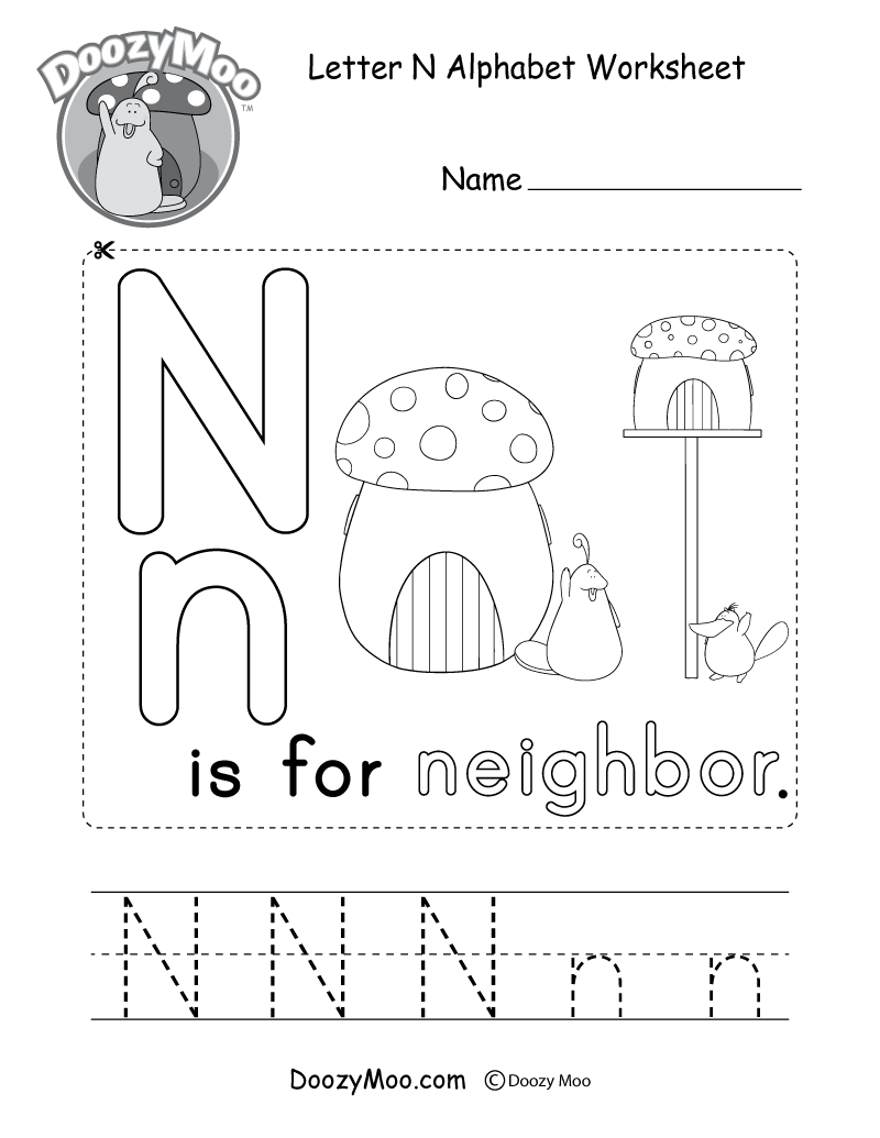 Letter N Alphabet Activity Worksheet - Doozy Moo
