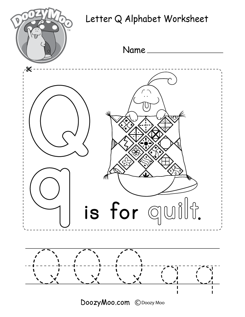 Letter Q Alphabet Worksheet. The letter Q is for quilt.