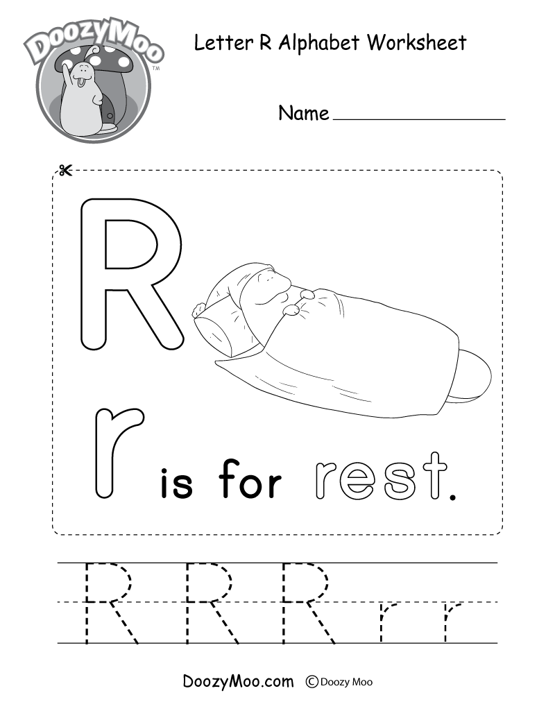 Letter R Alphabet Worksheet. The letter R is for rest.