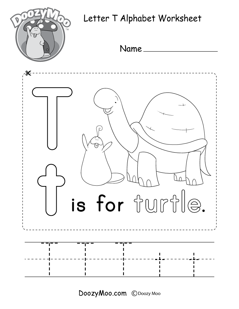 Letter T Alphabet Worksheet. The letter T is for turtle.