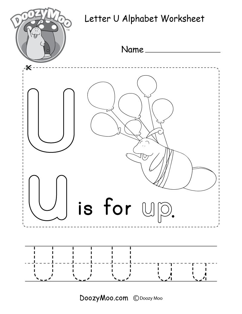 Letter U Alphabet Worksheet. The letter U is for up.