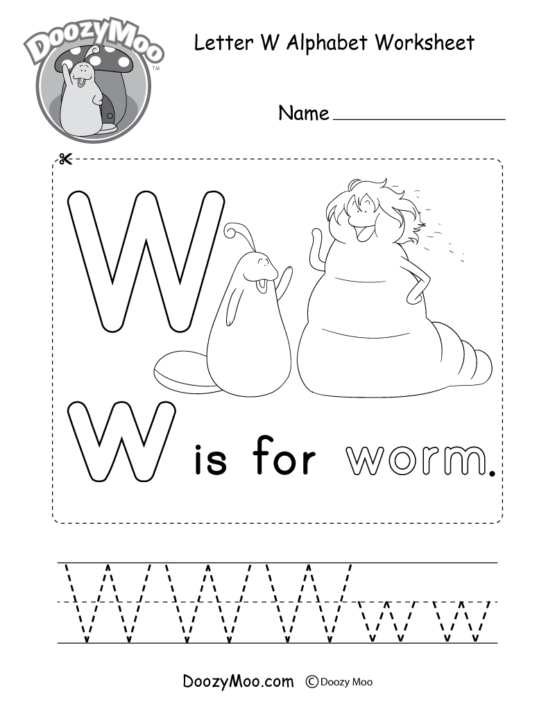 Letter W Alphabet Worksheet. The letter W is for worm.