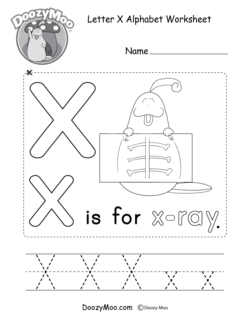 Letter X Alphabet Worksheet. The letter X is for x-ray.