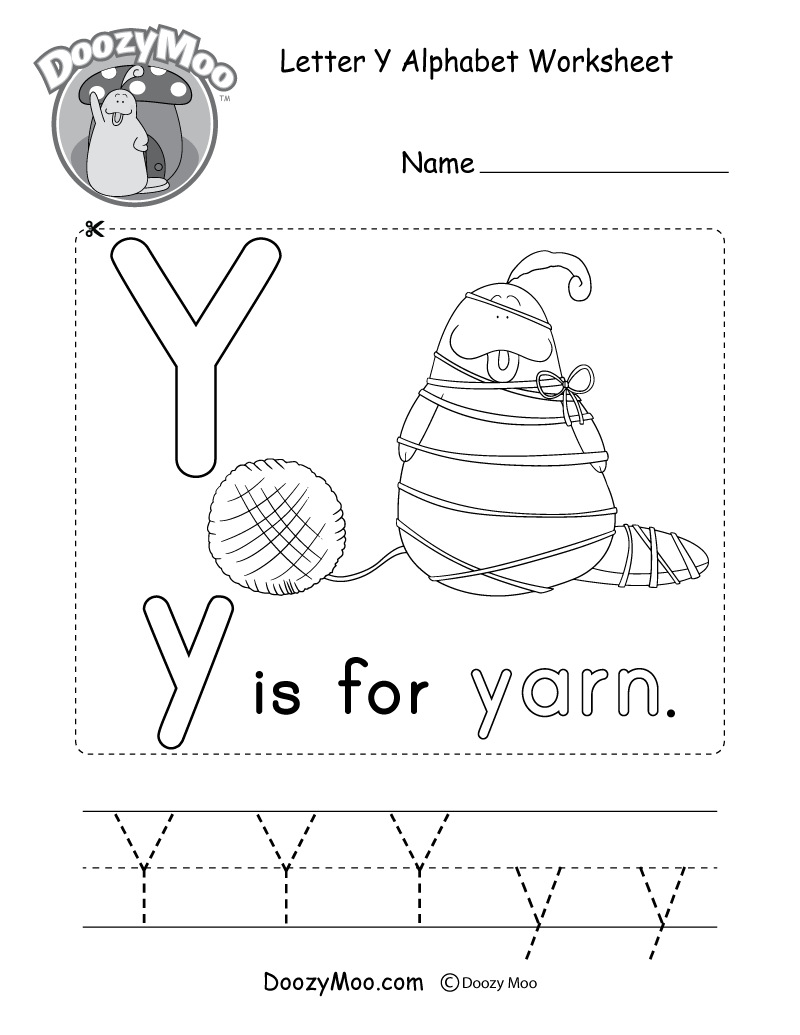 Letter Y Alphabet Worksheet. The letter Y is for yarn.