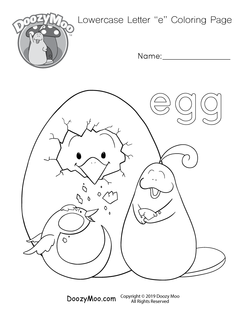 "A small letter ""e"" and Doozy Moo are both helping a baby chick hatch from an egg in this lowercase letter ""e"" coloring page."
