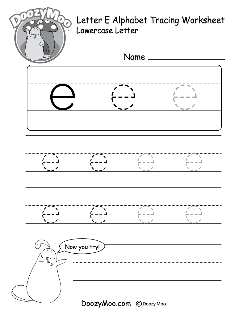 "Lowercase Letter ""e"" Tracing Worksheet"