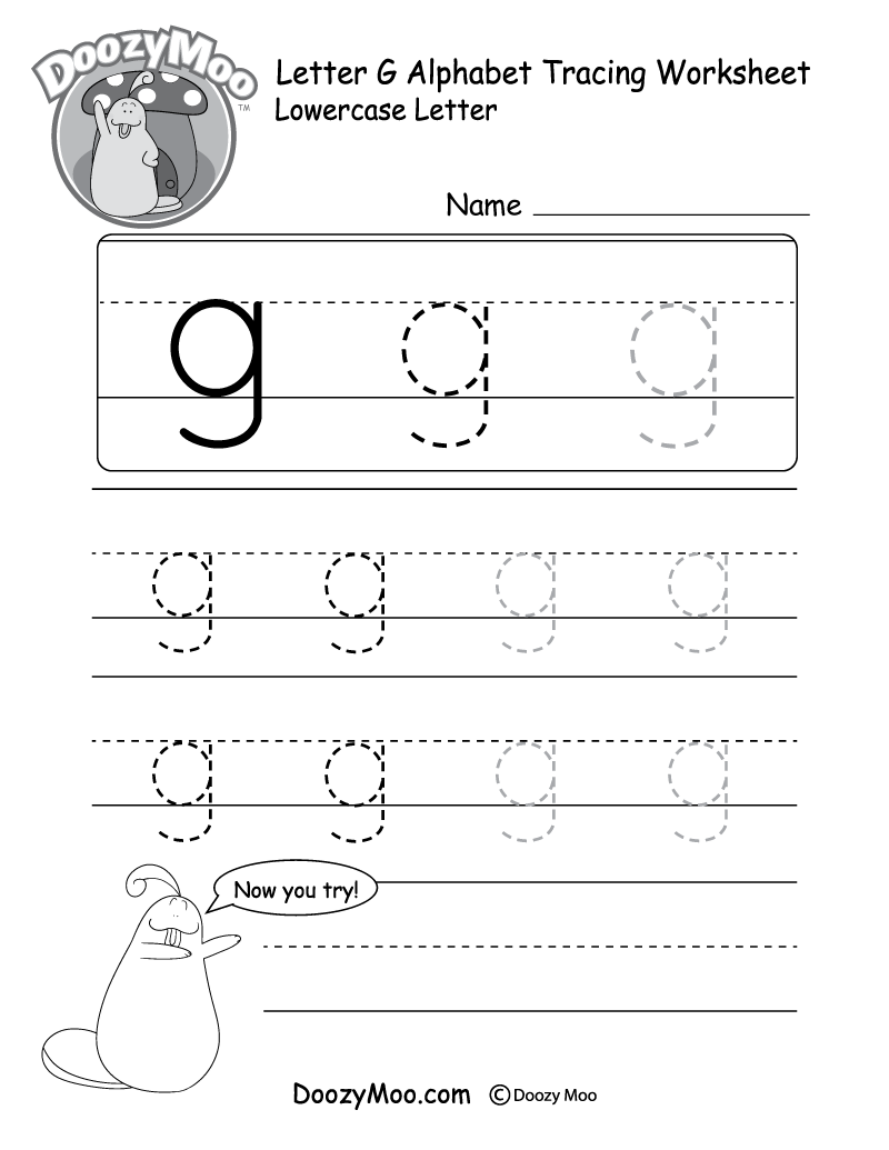 Worksheets Letter G Worksheets lowercase letter g tracing worksheet doozy moo worksheet