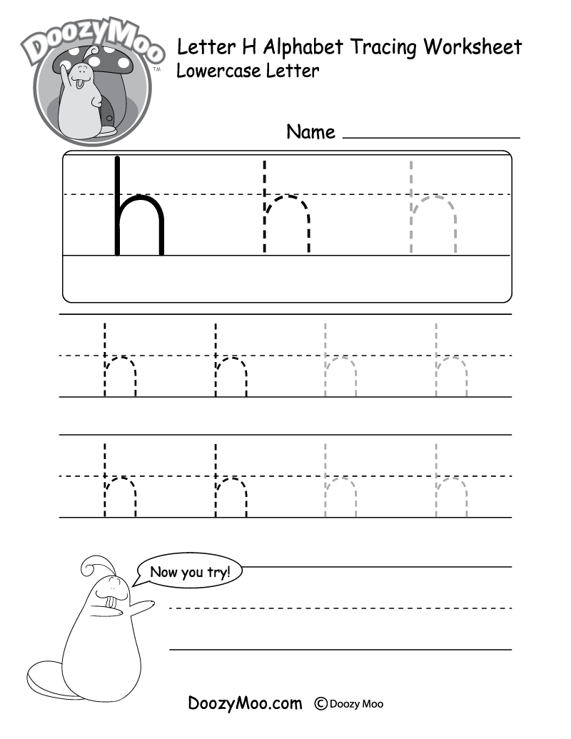 "Lowercase Letter ""h"" Tracing Worksheet"