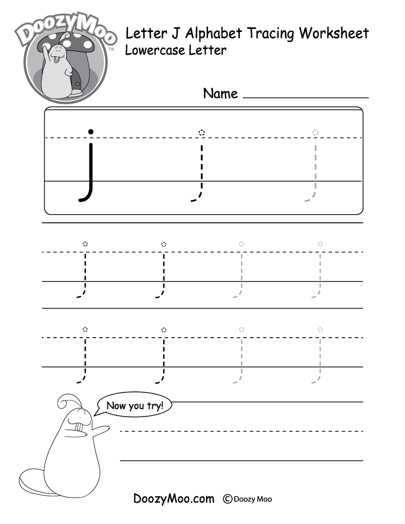 "Lowercase Letter ""j"" Tracing Worksheet"