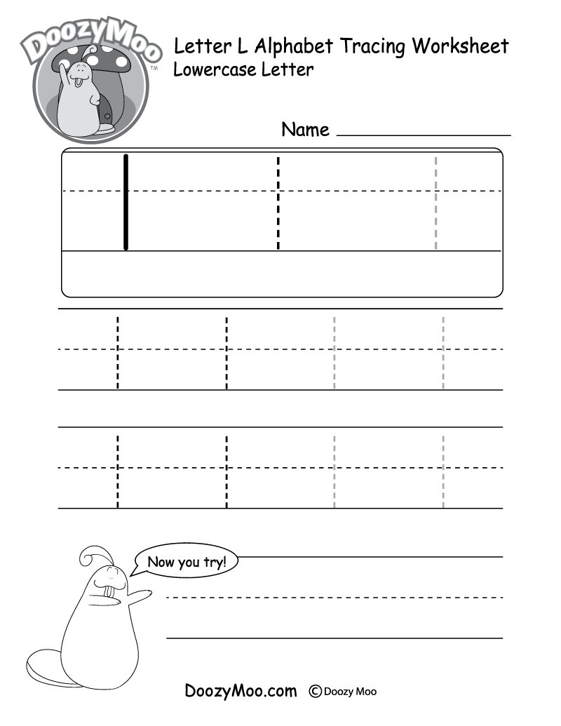 "Lowercase Letter ""l"" Tracing Worksheet"