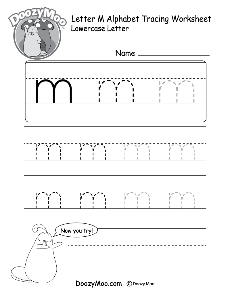 "Lowercase Letter ""m"" Tracing Worksheet"