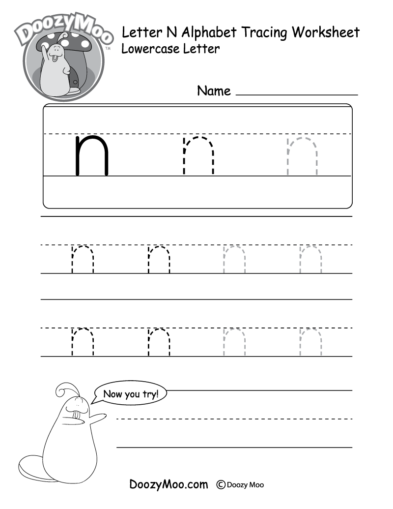 Lowercase Letter N Tracing Worksheet Doozy Moo