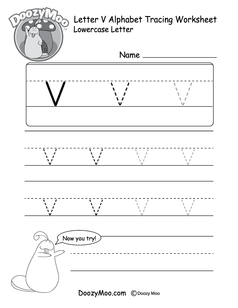"Lowercase Letter ""v"" Tracing Worksheet"
