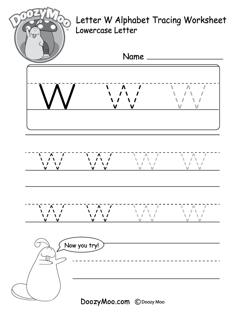 "Lowercase Letter ""w"" Tracing Worksheet"