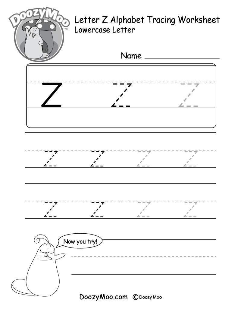 Worksheets Letter Z Worksheets lowercase letter z tracing worksheet doozy moo worksheet
