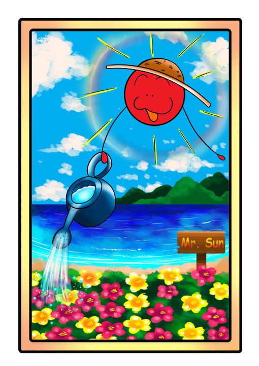 This character profile card shows Mr. Sun, the sun, performing his secret skill: gardening.