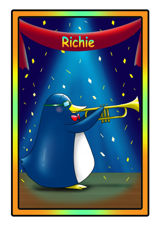 This character profile card shows Richie, a penguin, performing his secret skill: playing the trumpet.