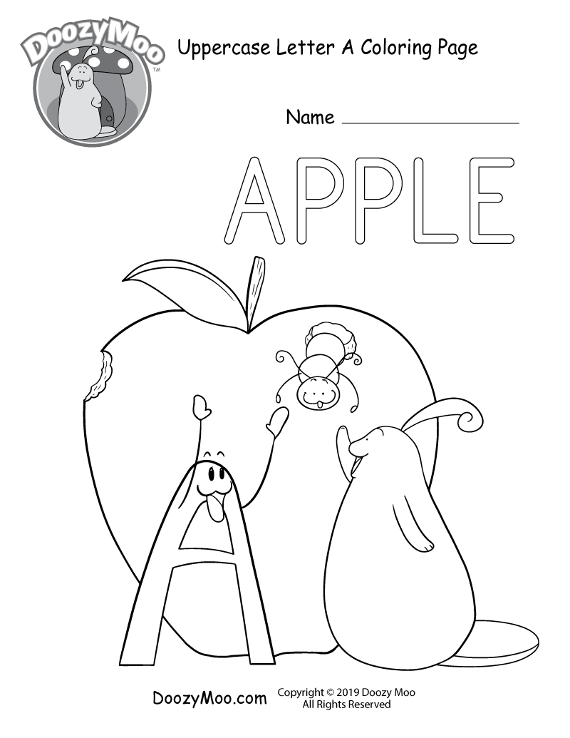 Doozy Moo and the letter A say hello to a cute worm as it crawls out of an apple in this uppercase letter A coloring page.