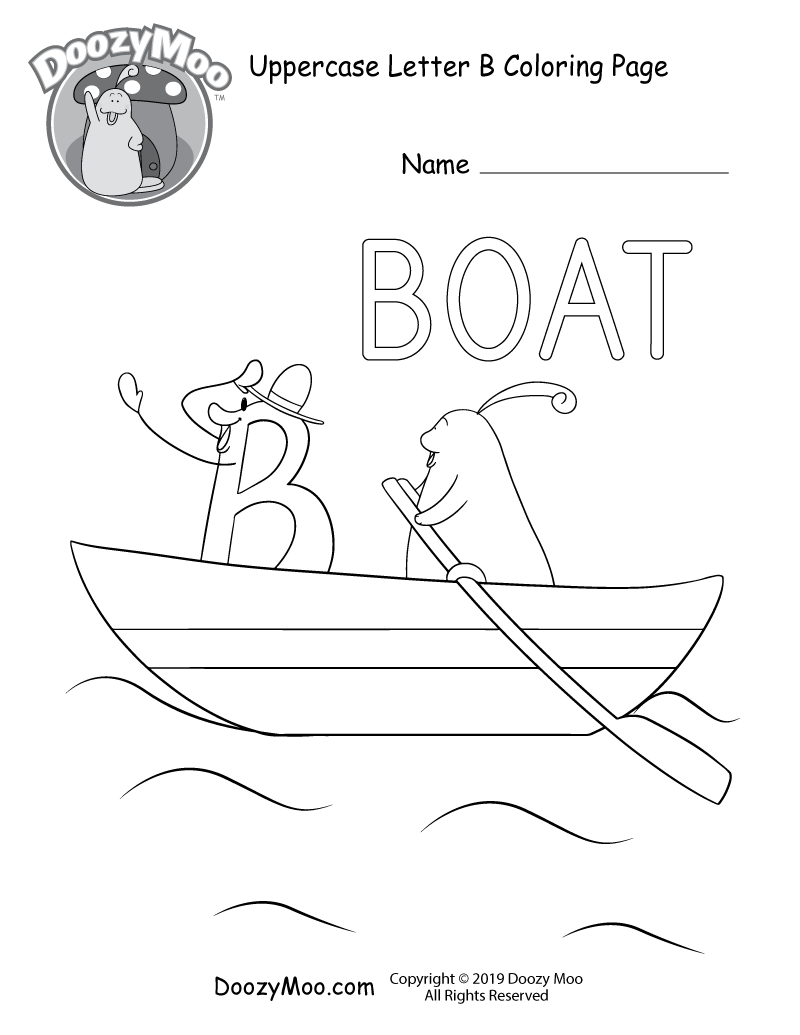 Doozy Moo and the letter B take a boat trip together in this uppercase letter B coloring page.