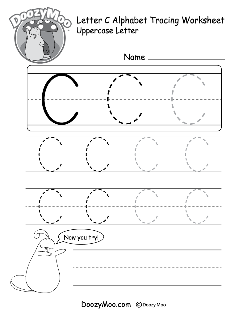 Worksheet Tracing The Letter C uppercase letter c tracing worksheet doozy moo worksheet