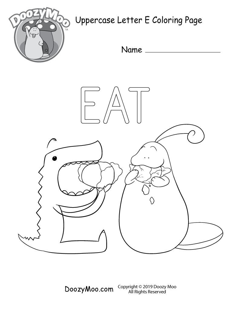 Doozy moo and the letter e both eat cabbage in this uppercase letter e coloring page