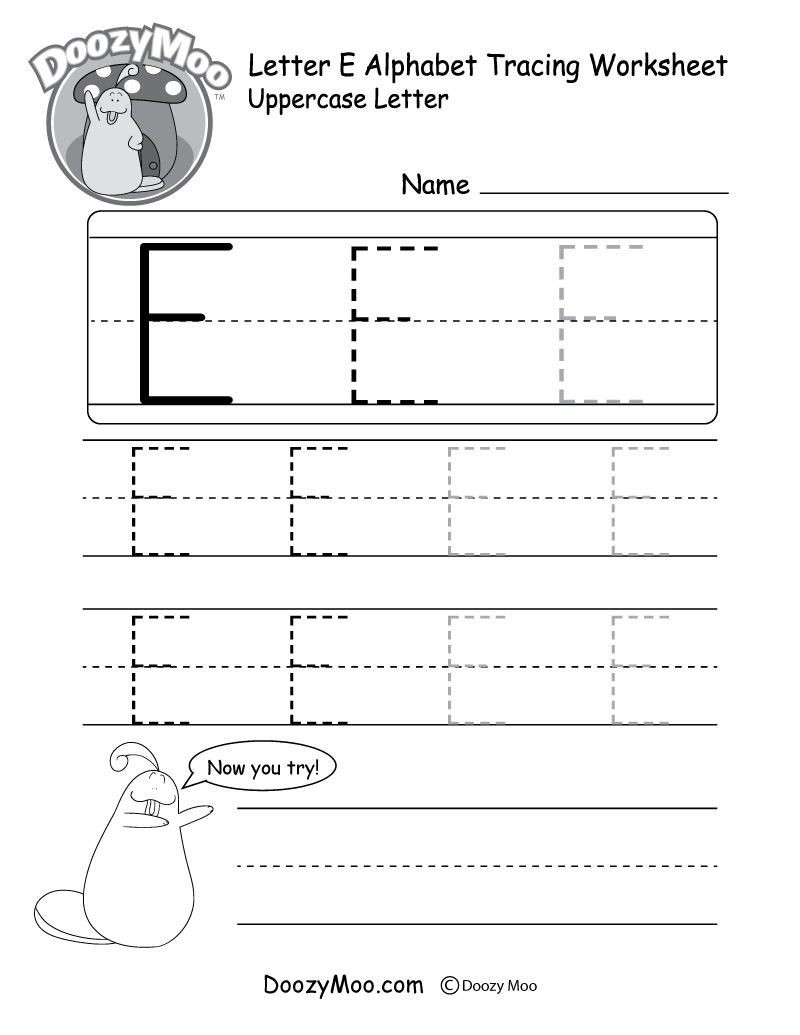 Uppercase Letter E Tracing Worksheet Doozy Moo