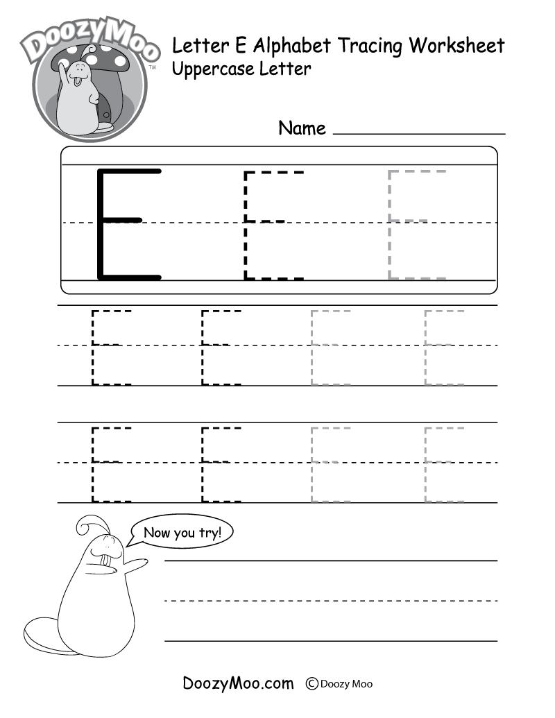 uppercase letter e tracing worksheet doozy moo. Black Bedroom Furniture Sets. Home Design Ideas