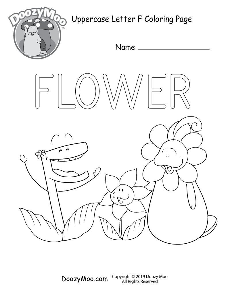 Cute Uppercase Letter F Coloring Page Free Printable Doozy Moo