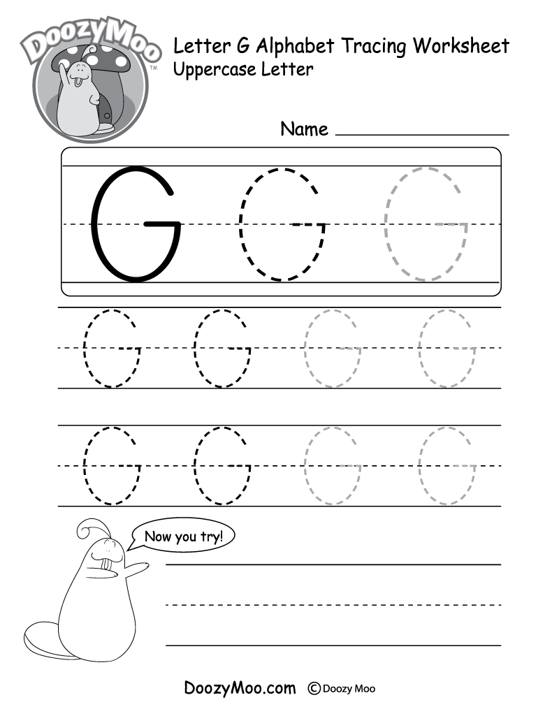 Uppercase Letter G Tracing Worksheet