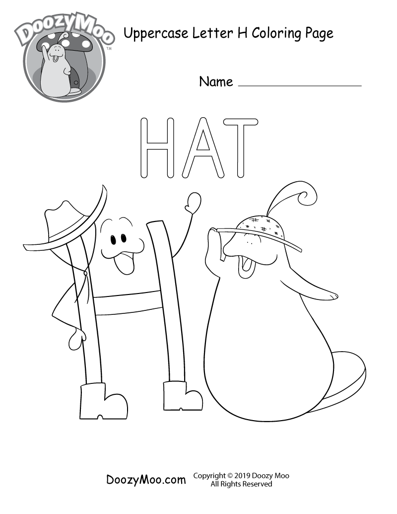 Doozy Moo and the letter H both wear hats in this uppercase letter H coloring page.