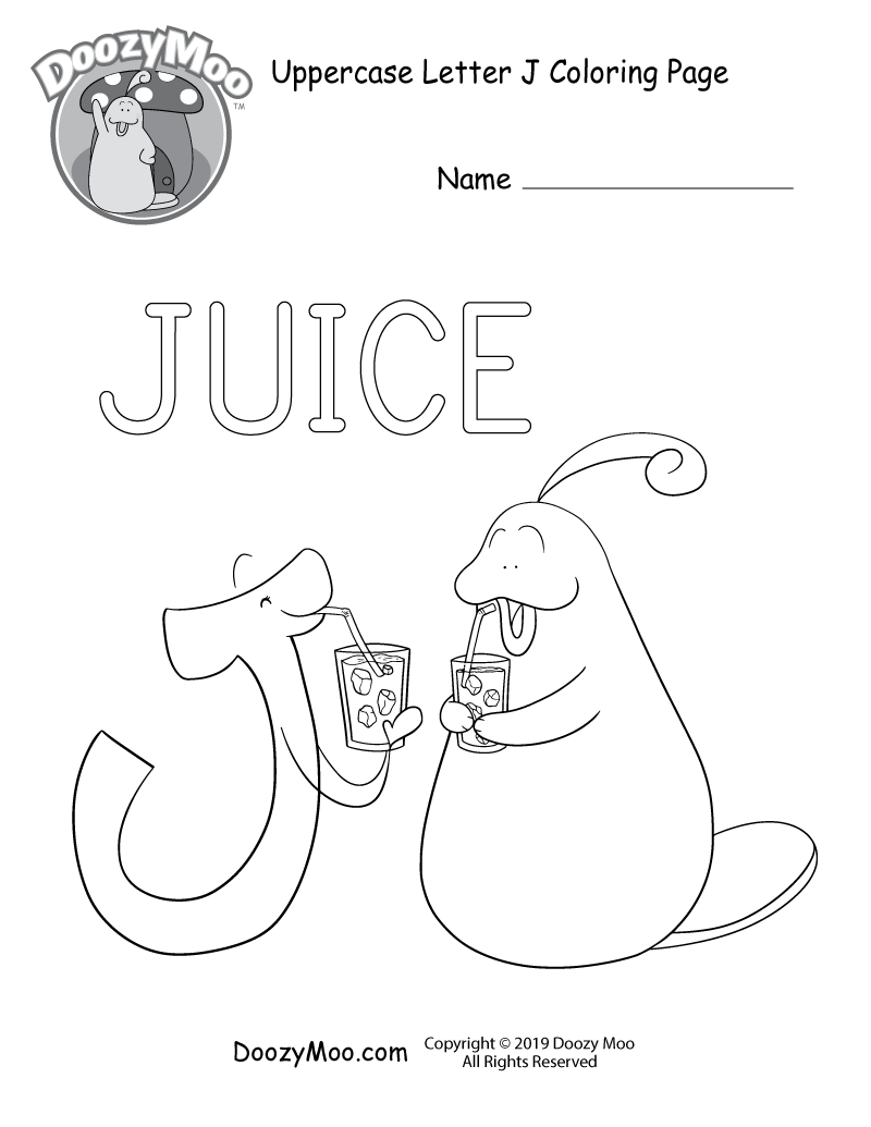Doozy Moo and the letter J both drink juice together in this uppercase letter J coloring page.